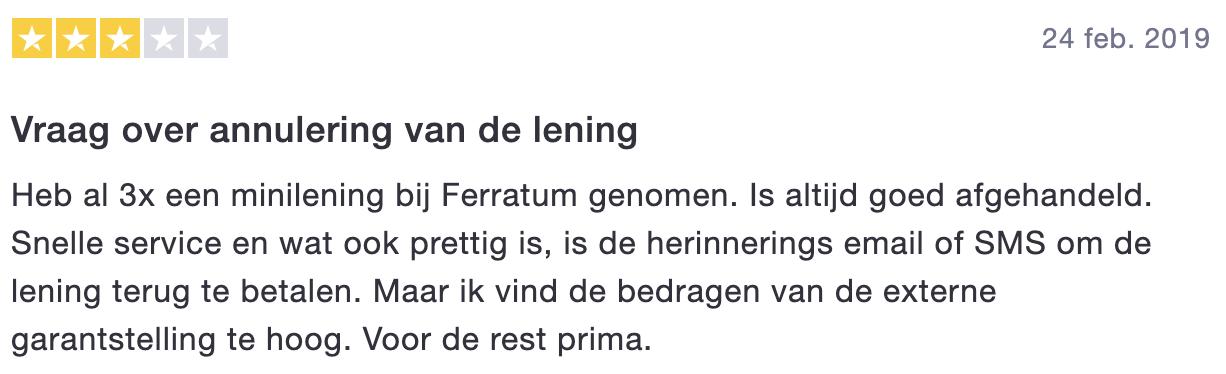 Ferratum review - 3 sterren