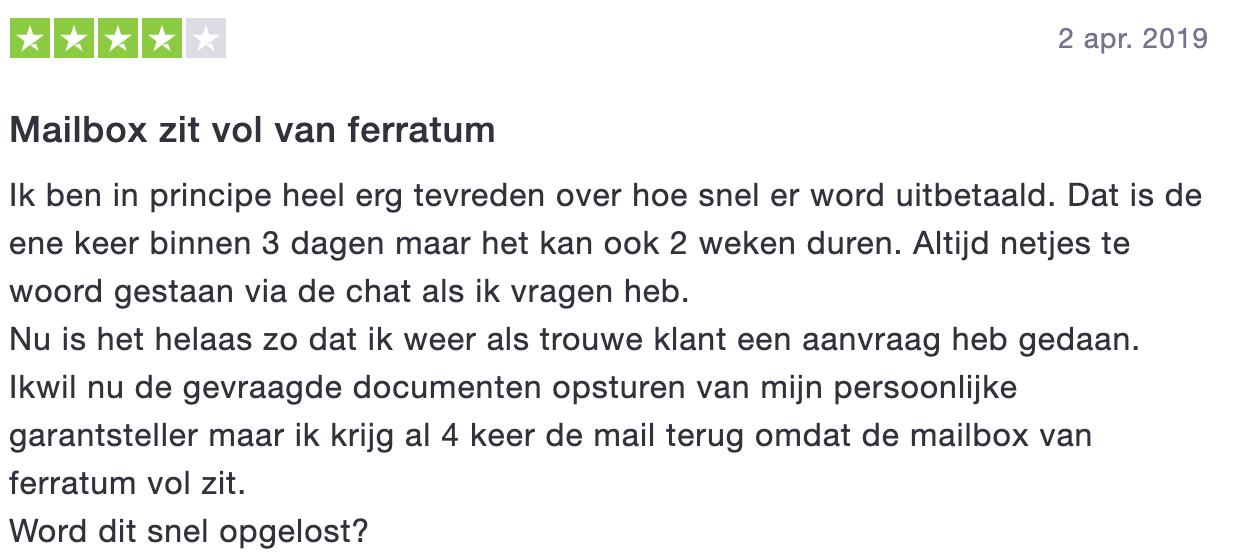 Ferratum review - 4 sterren