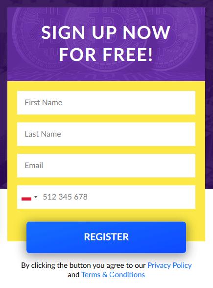 Bitcoin Champion registratieformulier