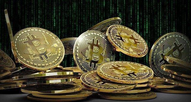 Bitcoin munten grafische matix achtergrond