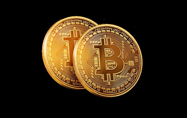 Goud Bitcoin grafische transparante achtergrond