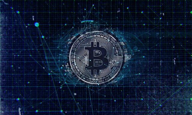 Digitale bitcoin blauw grafiek