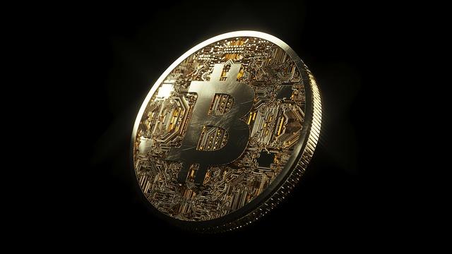 Groot gecryptografeerde munt op een zwarte achtergrond