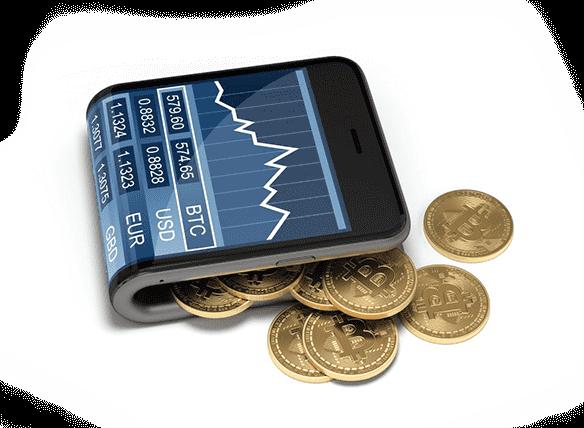 Geld munten aan de telefoon Bitcoin Champion