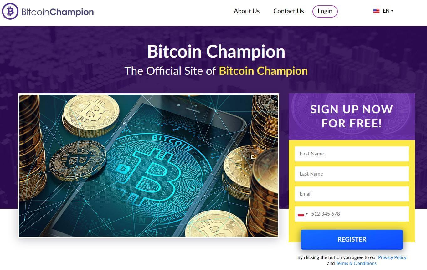 Homepagina van Bitcoin Champion