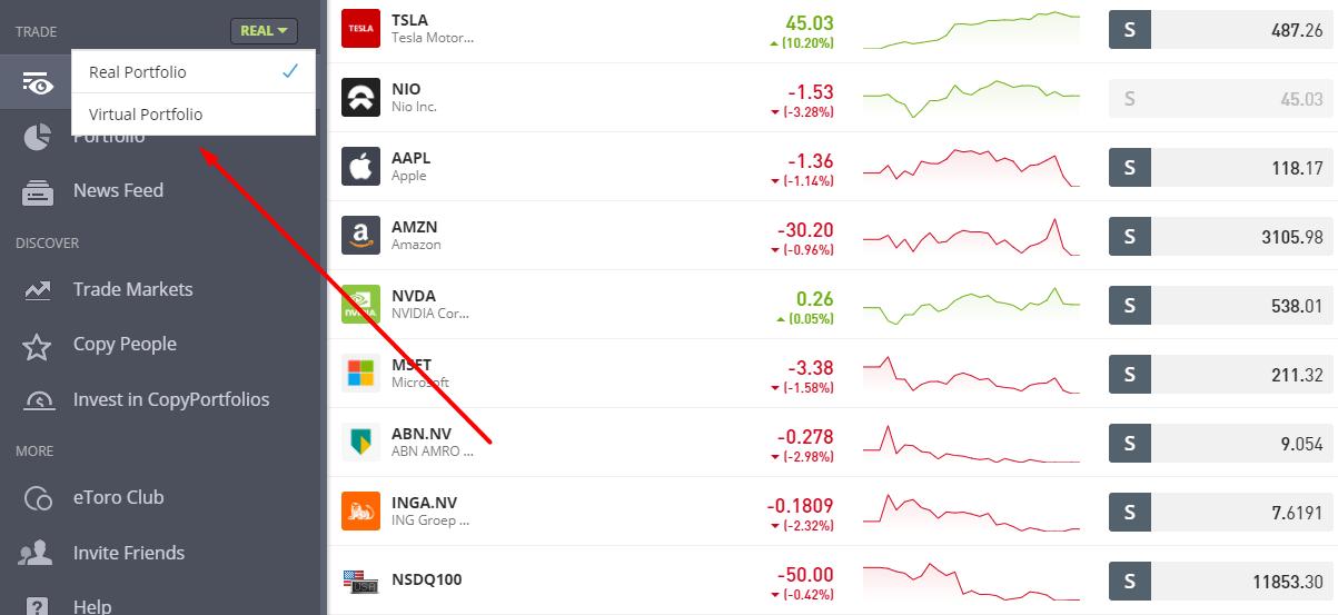 etoro demo account beleggen in aandelen