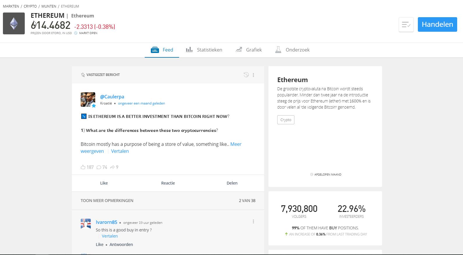 Ethereum prijs euro etoro