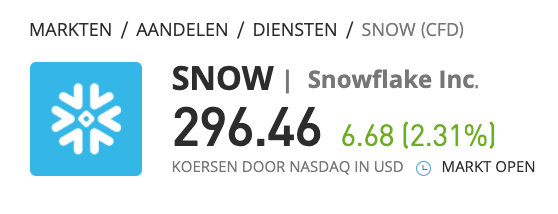 snowflake ipo actuele prijs