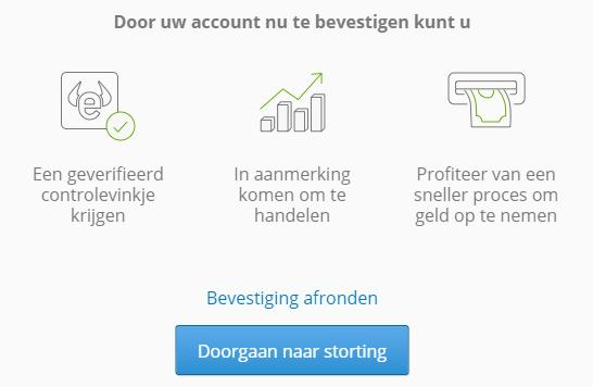 Bevestiging account eToro hefboomeffect
