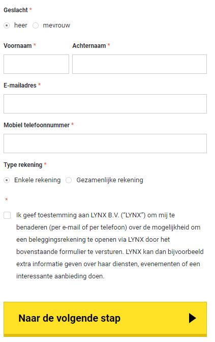 account aanmaken lynx