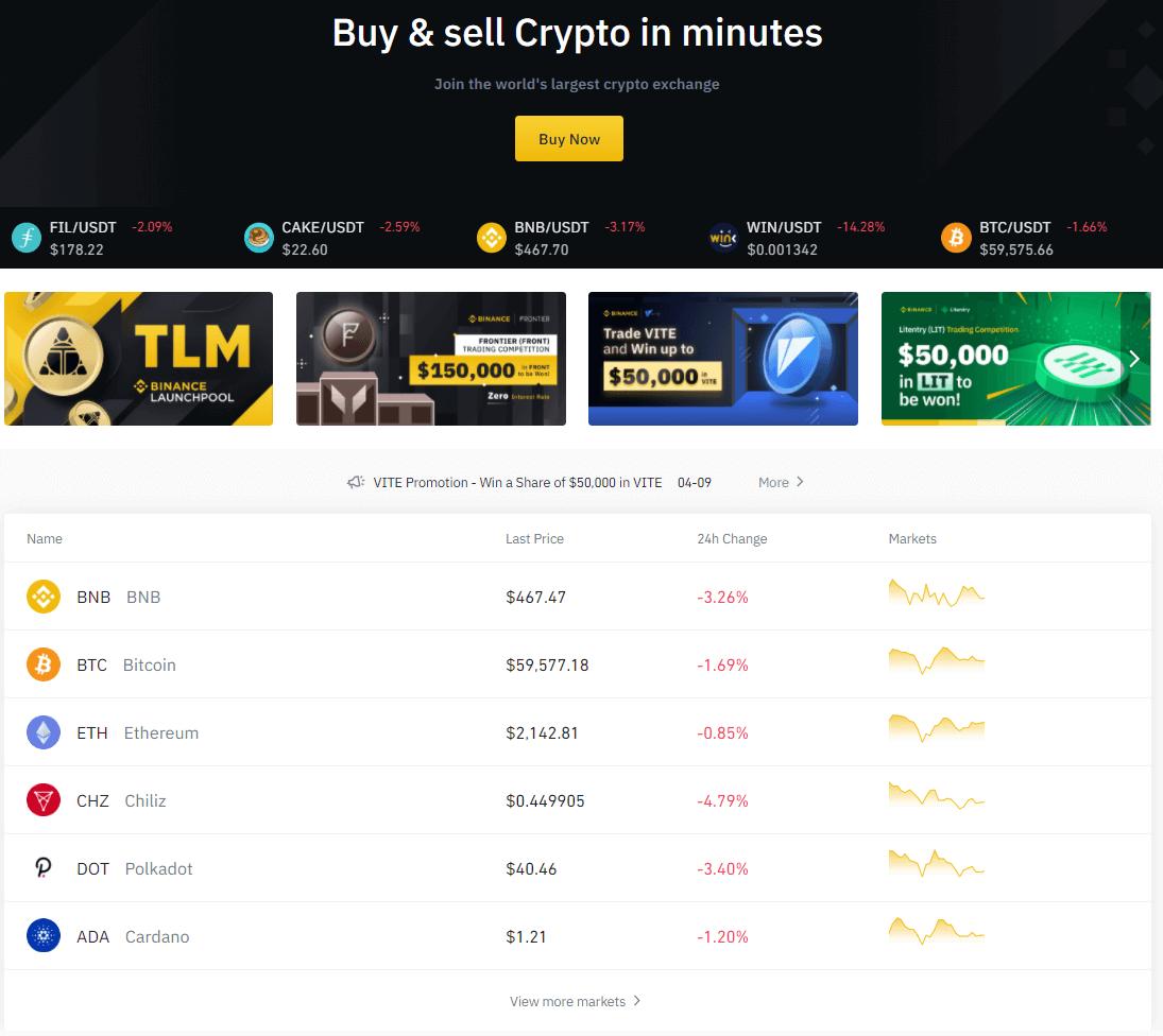 binance trading site
