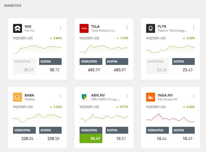 eToro demo trading product vinden