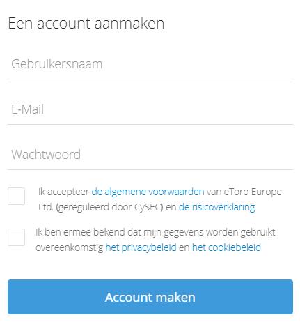 Account aanmaken etoro voor Ethereum trading
