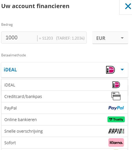 geld storten etoro voor Ethereum trading