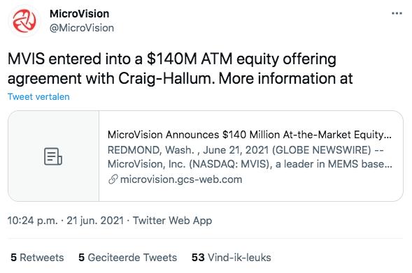 Tweet Microvision Aandeel nieuws