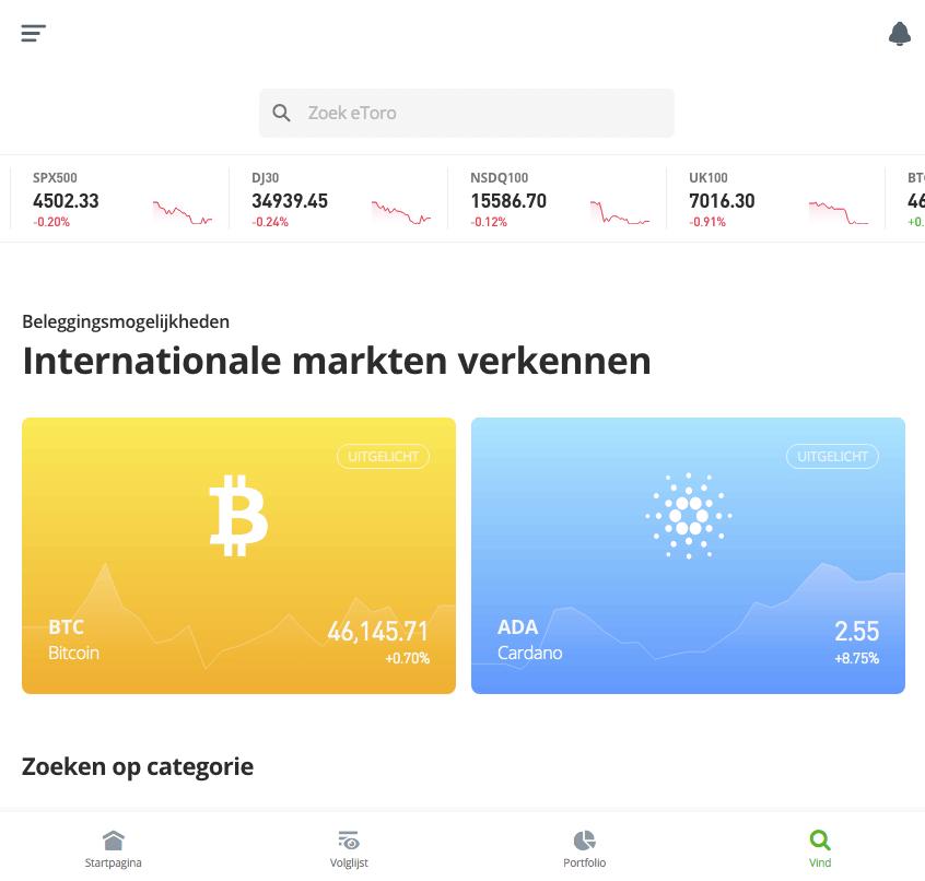 eToro interface
