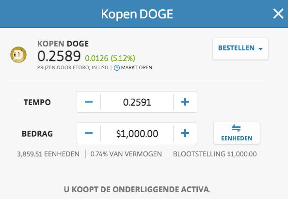 Dogecoin exchange eToro